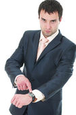 Portrait of a anger business man with clockworks — Stock Photo