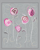 Abstract pink roses postcard on gray background — Stock Vector