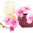 Royalty-Free Stock Photo: Modern table lamp and branch of artificial orchid flower in pot