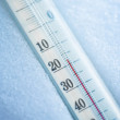 Thermometer in snow at twenty degrees celsius — Stock Photo #8983564