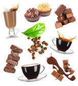Hot coffee, beans and chocolate candy set on white background — Stock Photo