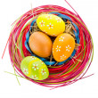 Royalty-Free Stock Photo: Easter background. Macro shot of painted eggs and easter decor
