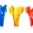 Disposable tableware. Set of colored plastic forks — Stock Photo
