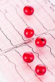 Cardiology. Macro of ECG graph and cardio pills — Stock Photo