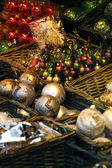 Christmas market details. Christmass tree decorations — Stock Photo