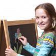 Drawing on a wooden easel — Stock Photo