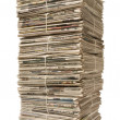 Towering stack of newspapers for recycling — Stock Photo