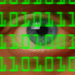 Eyeball watching digital binary code — Stock Photo #8280621