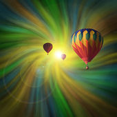 Hot-Air Balloons Flying in a Vortex — Stock Photo