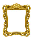 Ornate gold picture frame silhouetted against white — Stock Photo