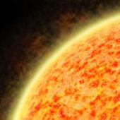 иллюстрация солнца излучающих солнечный ветер — Стоковое фото