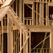 Part of house in framing phase of construction — Stock Photo #9633298