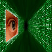 Olho de monitoramento de um corredor de código binário — Fotografia Stock