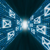 E-mail icons flying along walls of binary code — Stock Photo