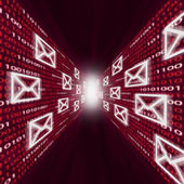电子邮件图标的二进制代码墙沿飞行 — 图库照片