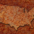 Stock Photo: Rusted corroded metal map of United States seamlessly tileab