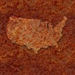 Stock Photo: Rusted corroded metal map of United States