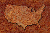 Rusted corroded metal map of the United States seamlessly tileab — Stock Photo