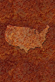 Rusted corroded metal map of the United States — Stock Photo