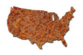 Rusted corroded metal map of the United States on white — Stock Photo