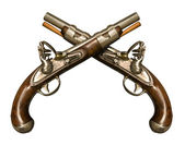 Two Crossed Flintlock Pistols — Stockfoto