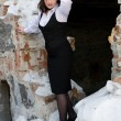 Business woman on the ruins of a building — Stock Photo