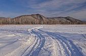 Traccia di auto su un campo coperto di neve — Foto Stock