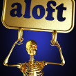 Golden skeleton holding the sign — Stok fotoğraf