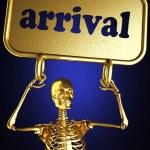 Golden skeleton holding the sign — Stock Photo #10358727