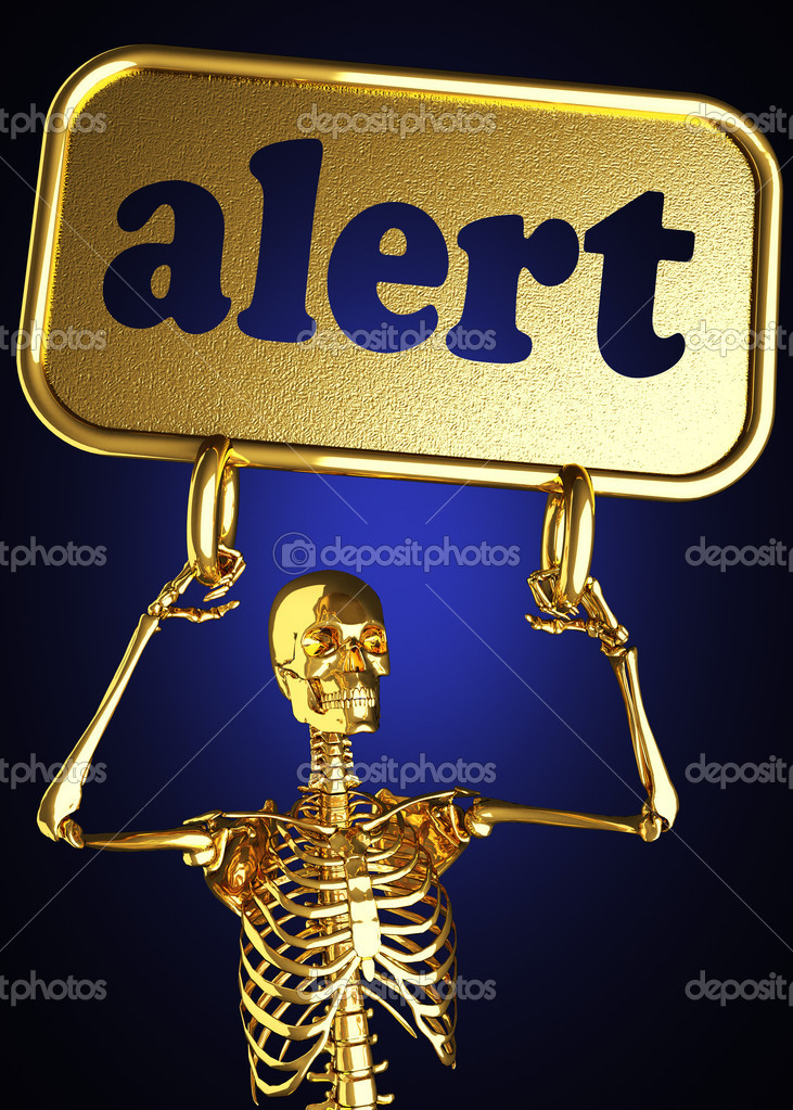Golden skeleton holding the sign made in 3D — Stock Photo #10358403