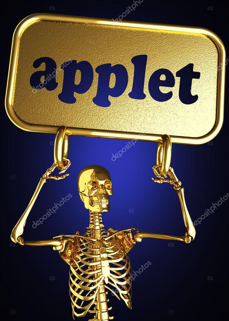 Golden skeleton holding the sign made in 3D — Stock Photo #10358653