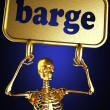 Golden skeleton holding sign — Stock Photo #10363175