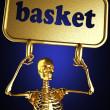 ouro esqueleto segurando o cartaz — Fotografia Stock  #10363291