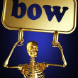 Golden skeleton holding the sign — Stock fotografie