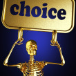 Golden skeleton holding sign — Stock Photo #10364548