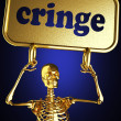Golden skeleton holding sign — Stock Photo #10366744