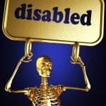 Gouden skelet houden het teken — Stockfoto