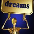 Złoty szkielet gospodarstwa znak — Zdjęcie stockowe