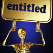 Golden skeleton holding sign — Stock Photo #10369202