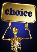 Golden skeleton holding the sign — Stock Photo