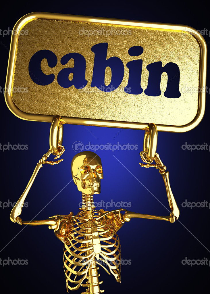 Golden skeleton holding the sign made in 3D — Stock Photo #10364279
