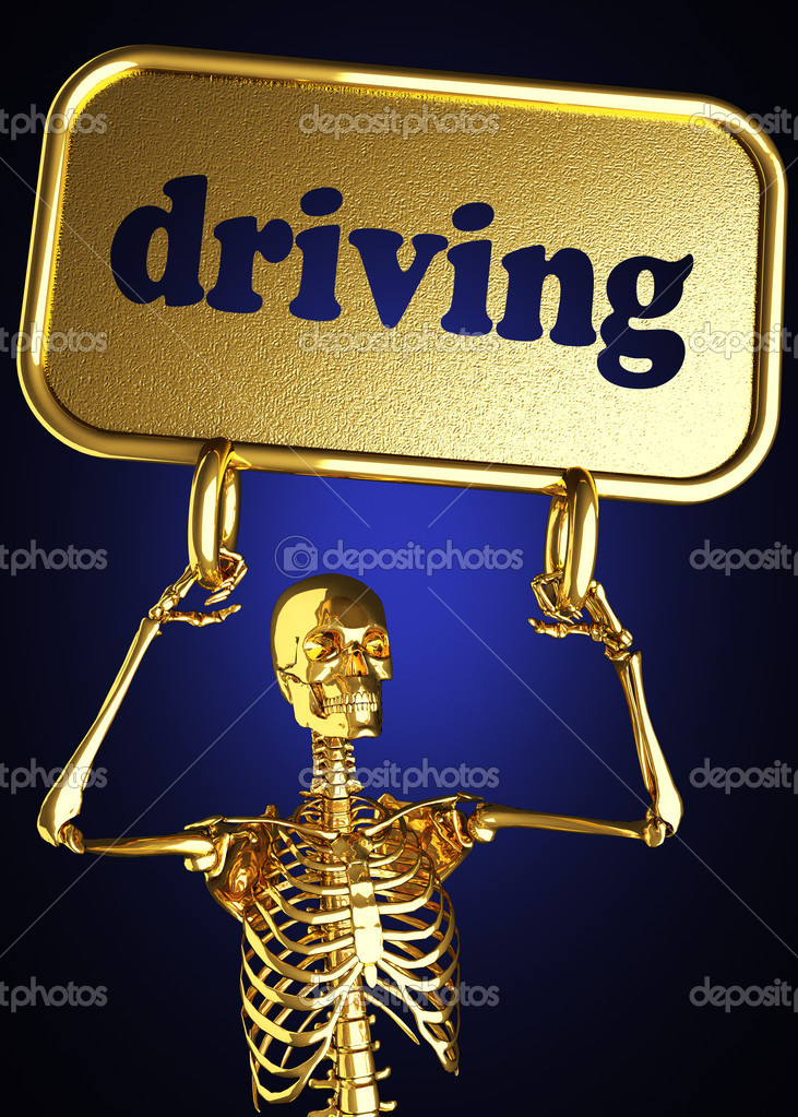 Golden skeleton holding the sign made in 3D — Stock Photo #10368961