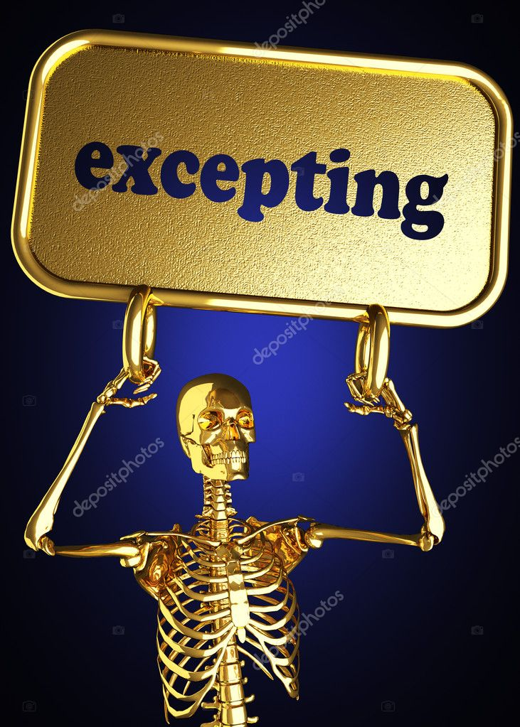 Golden skeleton holding the sign made in 3D — Stock Photo #10369339