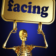 Golden skeleton holding the sign — Foto de Stock