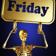 Golden skeleton holding the sign - Foto de Stock