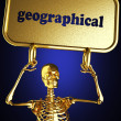 Golden skeleton holding sign — Stock Photo #10374248