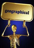 Işareti tutarak altın iskelet — Stok fotoğraf