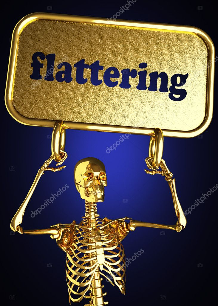 Golden skeleton holding the sign made in 3D  Stock Photo #10372072