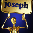 Golden skeleton holding the sign — Stock Photo #10380340