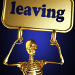 Golden skeleton holding the sign — Stock Photo #10382325